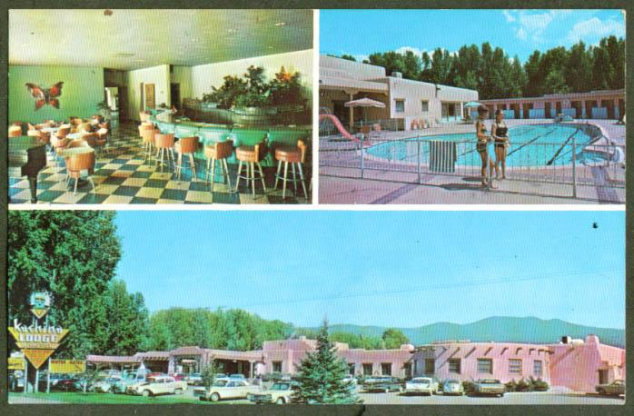 Kachina Lodge & Motel Taos NM  3-vue postcard 1960s