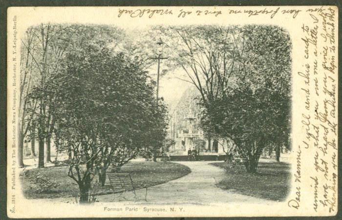 Fountain in Forman Park Syracuse NY undivided back postcard 1905
