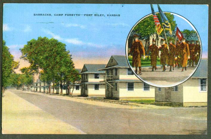 Fort Forsyth Barracks Fort Riley KS postcard 1943