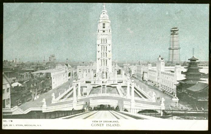 View of Dreamland Coney Island NY undivided back postcard 1900s
