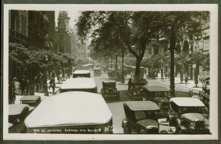 Avenida Rio Branco Rio de Janiero Brazil RPPC postcard 1920s