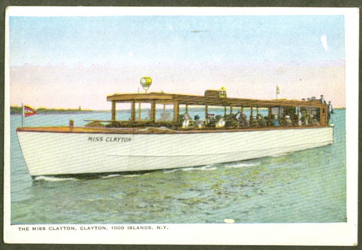 Excursion Boat Miss Clayton at Clayton NY postcard 1910s