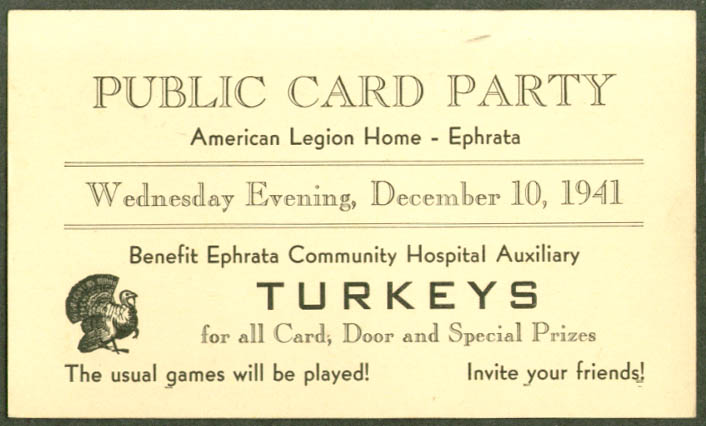 Public Turkey Card Party Ephrata PA postcard 1941