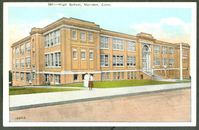 The High School Building Meriden CT postcard 1910s