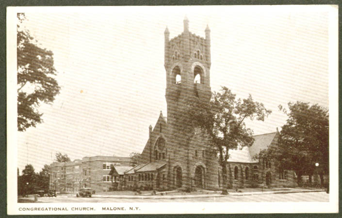 Congregational Church Malone NY postcard 1934