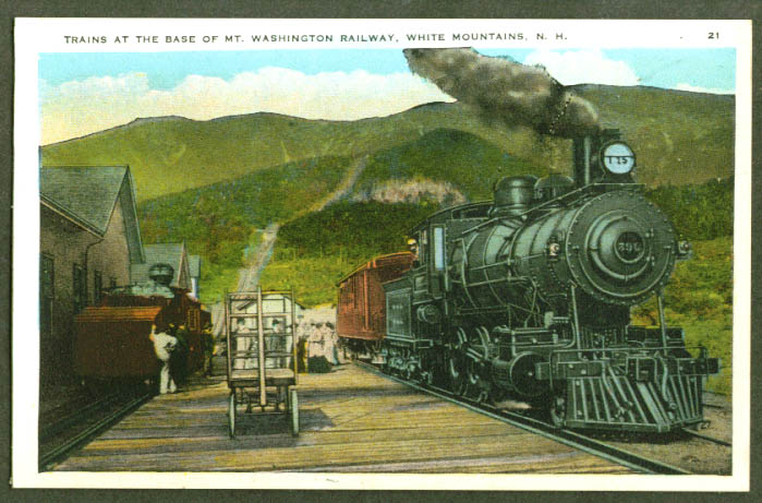 Steam locomotive Mount Washington NH station postcard 1910s