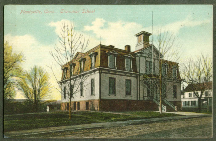 Grammar School at Plantsville CT postcard 1910s