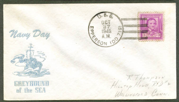 USS Epperson DD-719 Navy Day cachet cover 1949