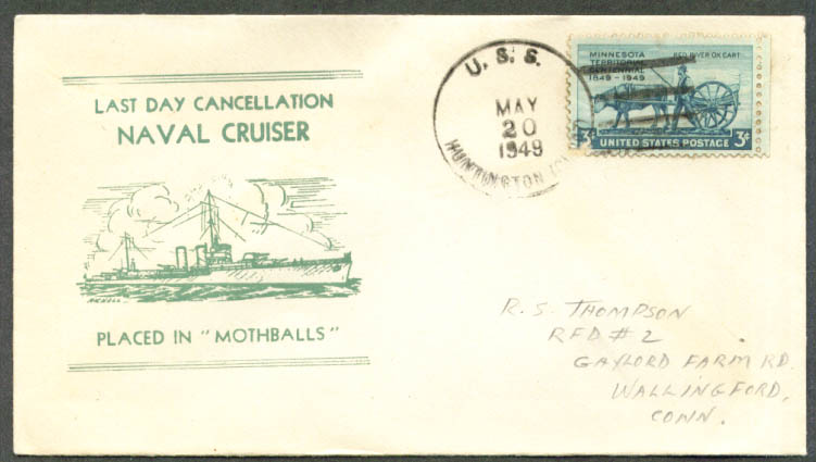USS Huntington CL-107 Last Day Mothball cover 1949