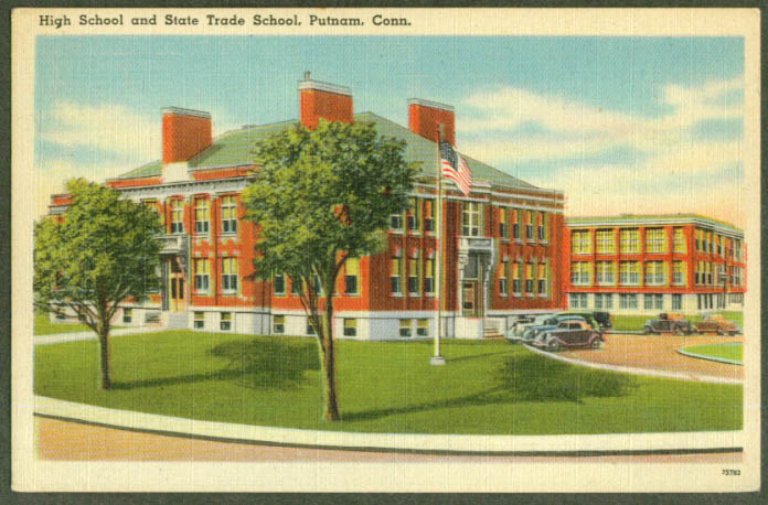 High School & State Trade School Putnam CT postcard 1940s