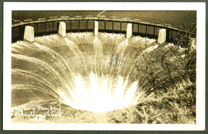 Water flow at Glory Hole Whitingham VT RPPC 1930s