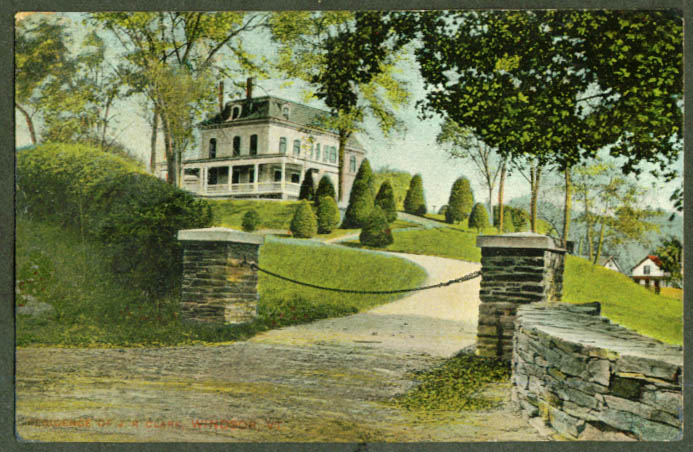 J R Clark Residence at Windsor VT postcard 1917