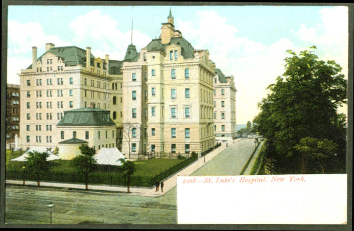 St Luke's Hospital in New York City NY undivided back postcard 1900s