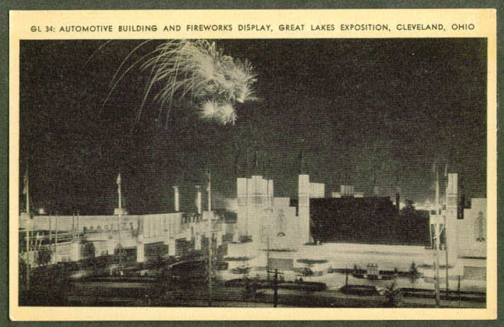Auto Building & Fireworks Great Lakes Expo postcard 1936