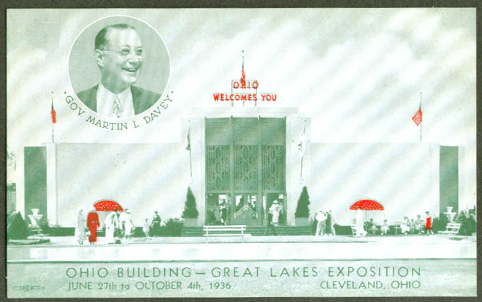 Ohio Building Great Lakes Expo Cleveland postcard 1936