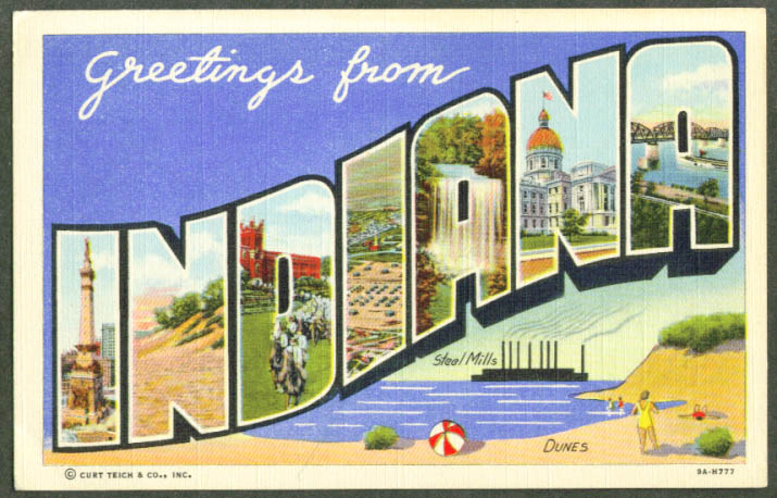Greetings from INDIANA large letter postcard 1940s