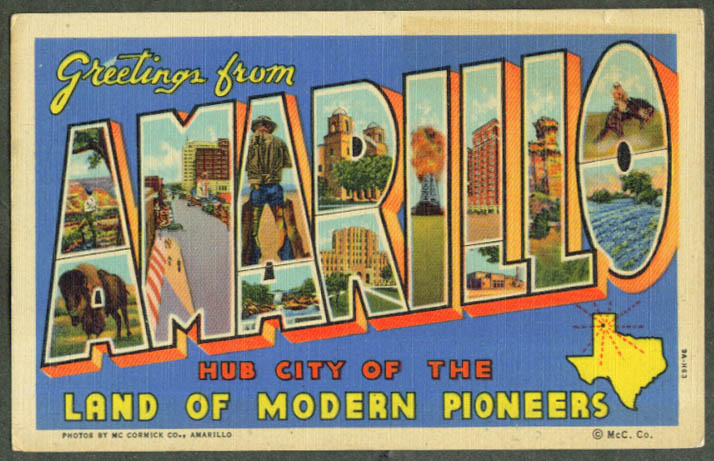 Greetings from AMARILLO TX large letter postcard 1940s