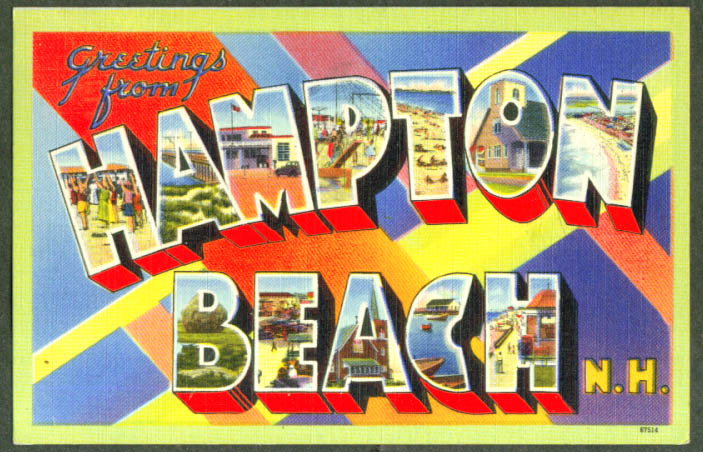 Greetings from HAMPTON BEACH NH large letter postcard 1950