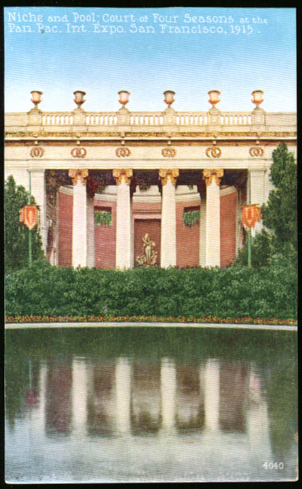 1915 Panama-Pacific Expo postcard Court of 4 Seasons pool