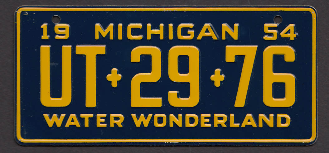 Wheaties cereal license plate Michgan 1954