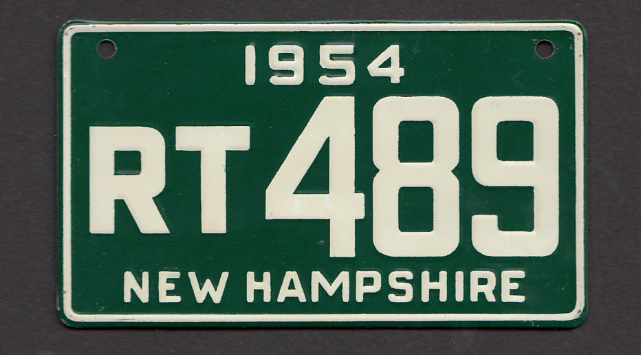 Wheaties cereal license plate New Hampshire 1954