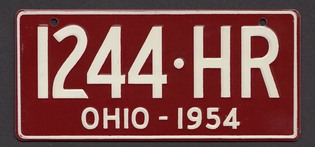 Image for Wheaties cereal license plate Ohio 1954