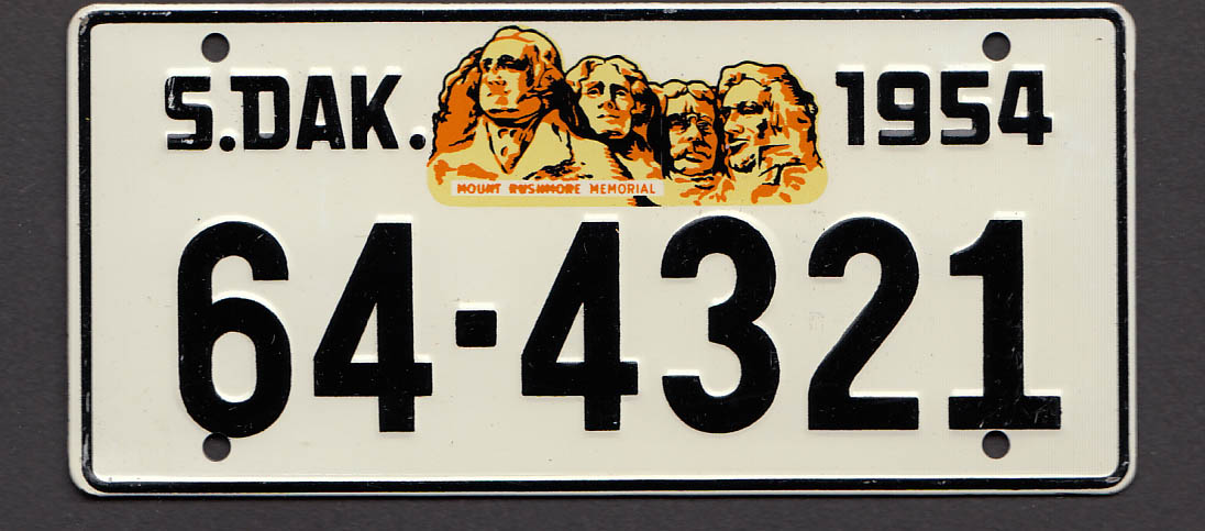 Wheaties cereal license plate South Dakota 1954