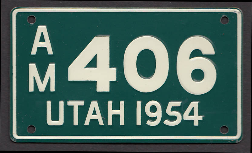 Wheaties cereal license plate Utah 1954