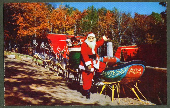 Sleigh at Santa's Workshop North Pole NY postcard 1950s
