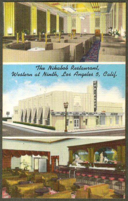 Nikabob Resaturant Los Angeles CA 3-view postcard 1940s