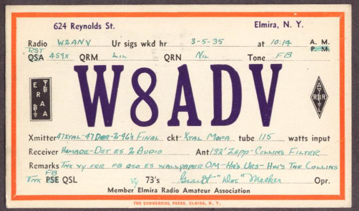W8ADV Grant Doc Meeker Elmira NY QSL card 1935