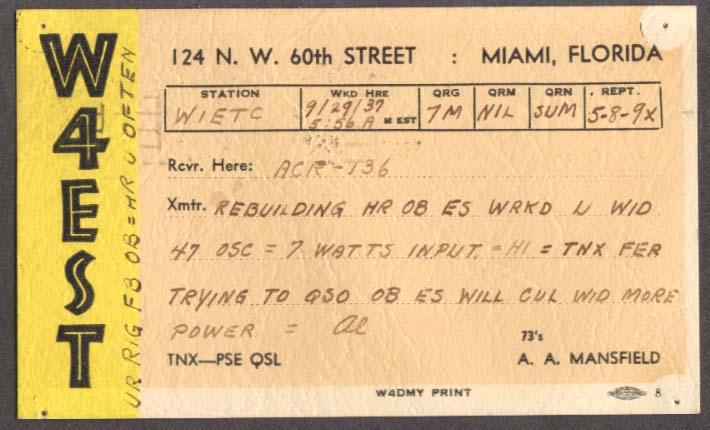 W4EST A A Mansfield Miami FL QSL card 1937