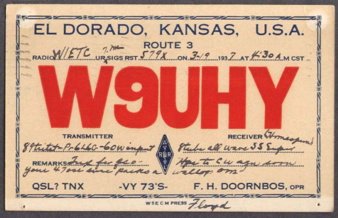 W9UHY F H Doornbos El Dorado KS QSL card 1937