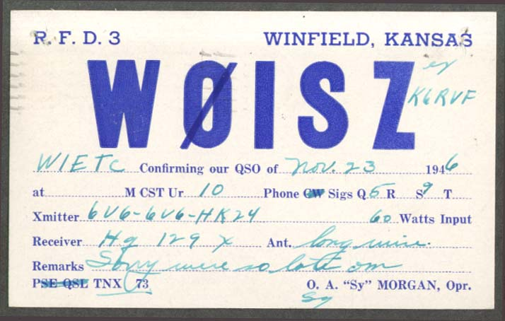 "W0ISZ O A ""Sy"" Morgan Winfield KS QSL card 1946"