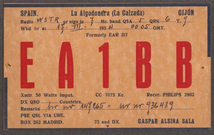 EA1BB Gaspar Alsina Sala Gijon Spain QSL card 1934