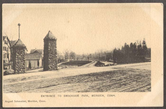 Brookside Park Entrance Meriden CT undivided back postcard 1900s