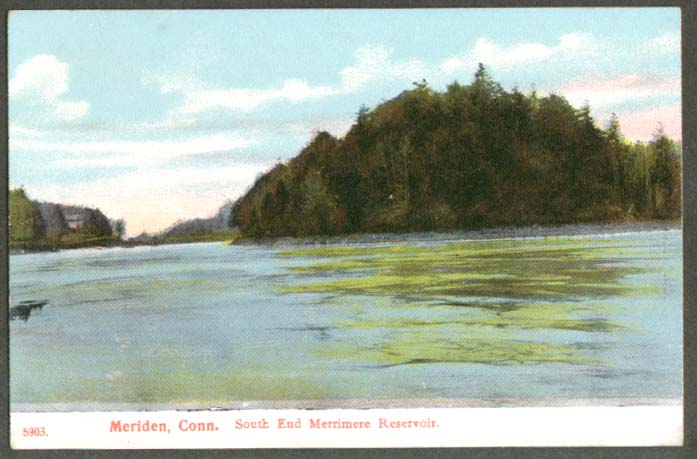 South End Merrimee Reservoir Meriden CT postcard 1910s