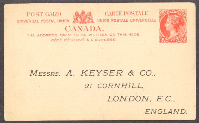 A Keyser London Imperial Bank Canada postal 1890s