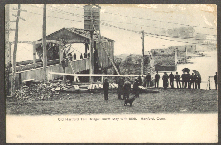 Hartford Toll Bridge burnt 1895 CT undivided back postcard 1900s