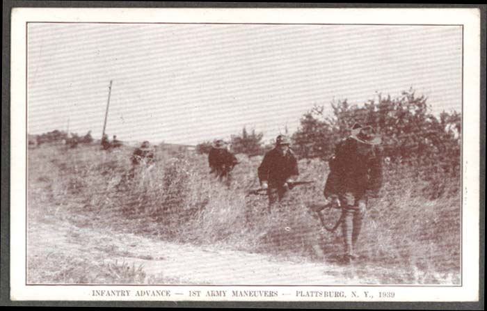 Infantry advance 1st Army Plattsburg NY postcard 1939