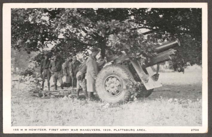 155mm Howitzer 1st Army Plattsburg NY postcard 1939