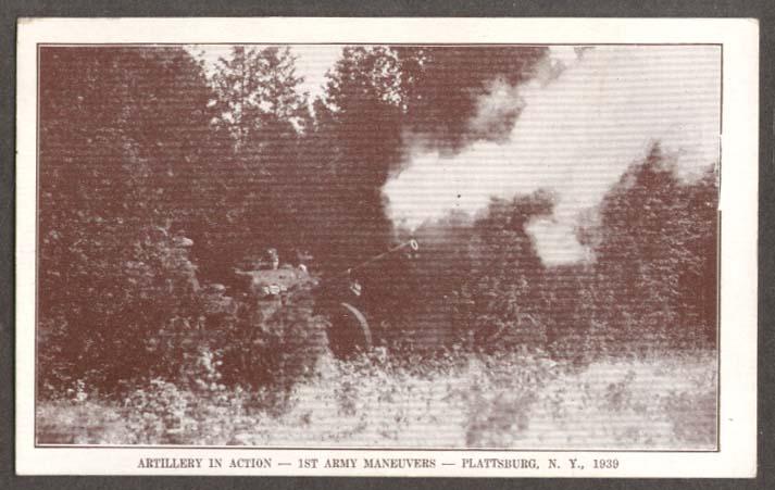 Artillery action 1st Army Plattsburg NY postcard 1939