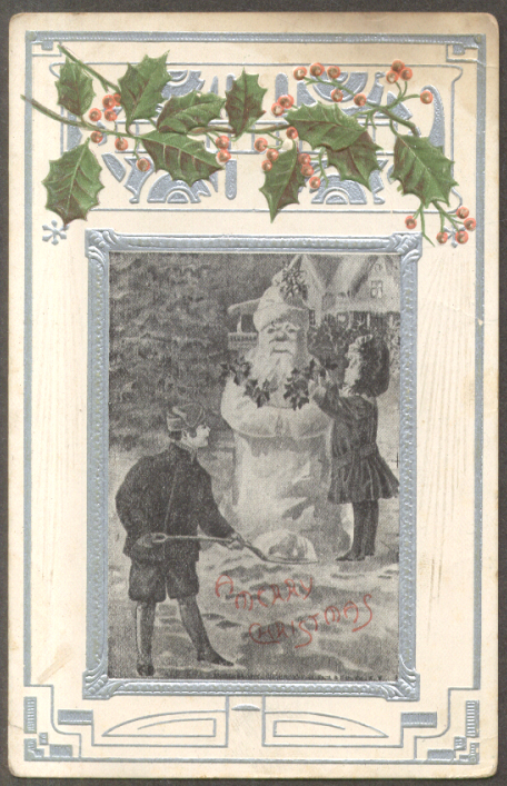 Image for Children build Santa Claus snowman Merry Christmas postcard 1910s
