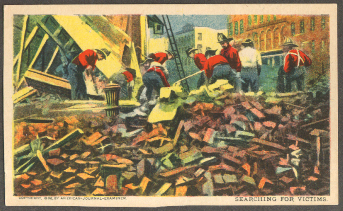 Image for Searching for victims San Francisco Earthquake undivided back postcard 1906