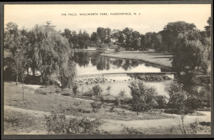 The Falls Wallworth Park Haddonfield NJ postcard 1950s