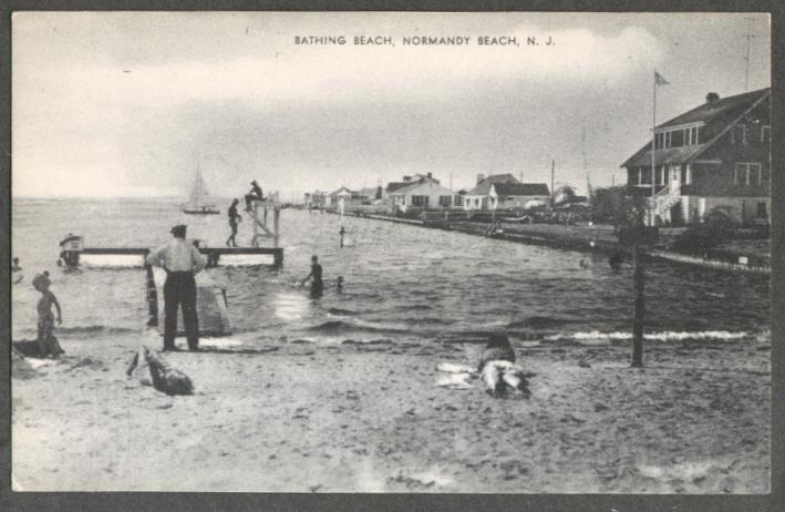 Image for Bathing Beach Normany Beach NJ postcard 1940s