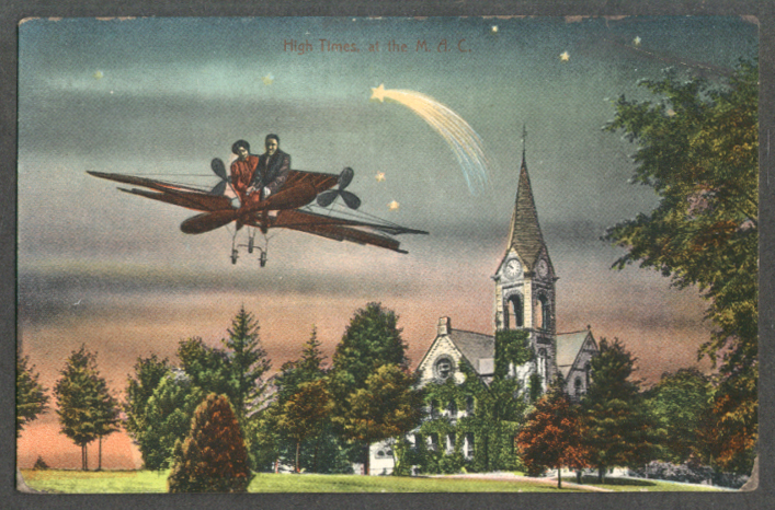 High Times at the M A C couple in aeroplane over church postcard 1910s