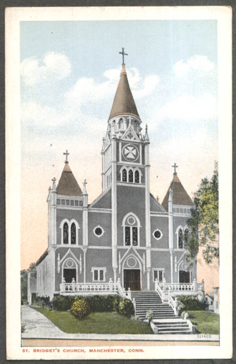 St Bridget's Church Manchester CT postcard 1910s