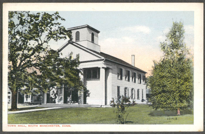 Town Hall South Manchester CT postcard 1910s