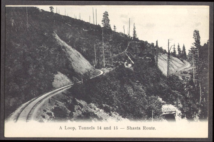 Image for The Loop Tunnels 14 & 15 Shasta Route SPRR CA undivided back postcard 1900s